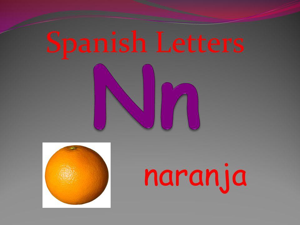 Spanish Letters Nn naranja