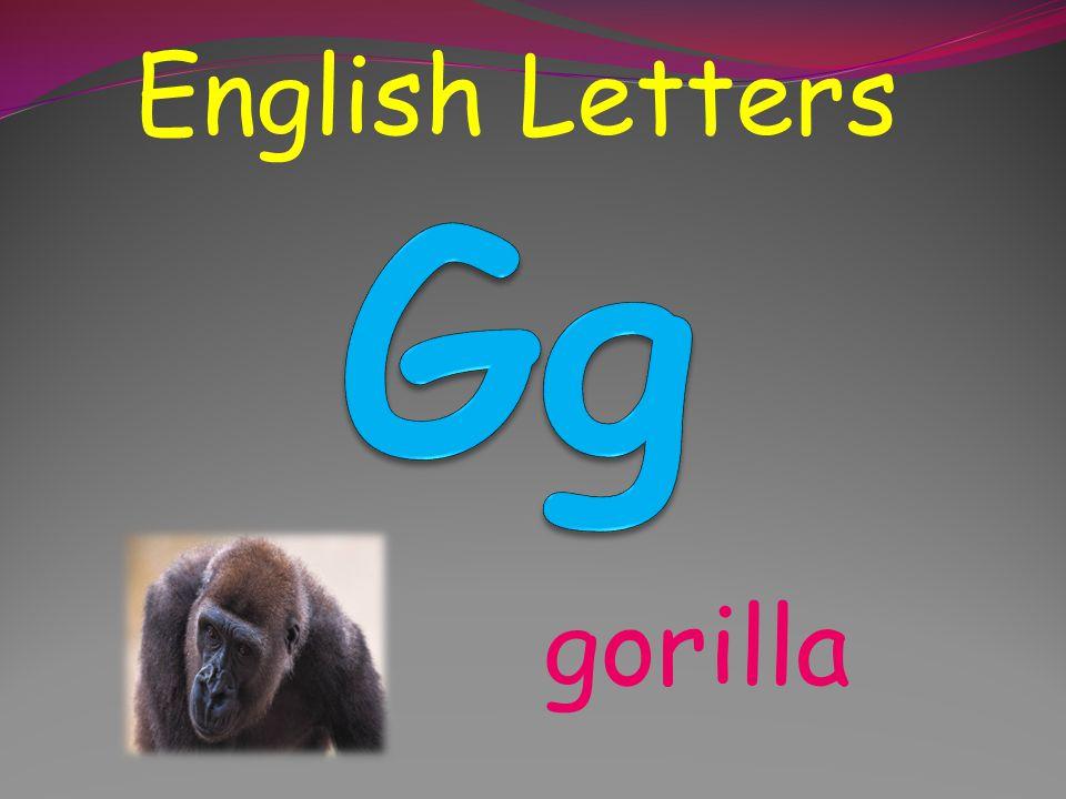 English Letters Gg gorilla