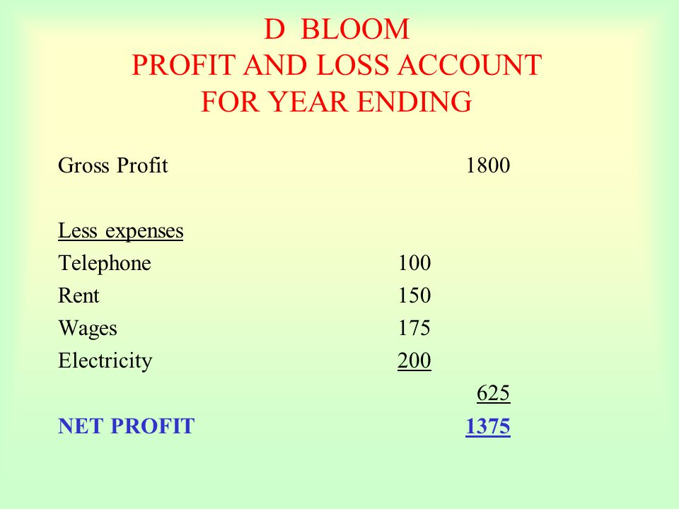 D BLOOM PROFIT AND LOSS ACCOUNT FOR YEAR ENDING