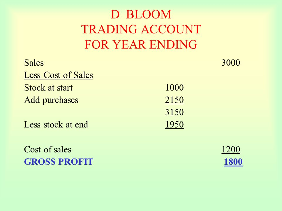D BLOOM TRADING ACCOUNT FOR YEAR ENDING