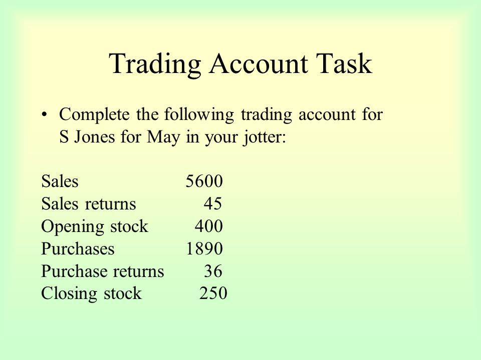 Trading Account Task Complete the following trading account for