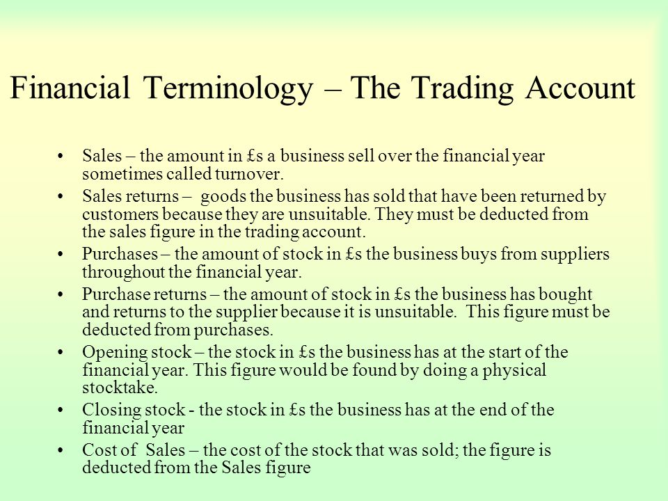 Financial Terminology – The Trading Account
