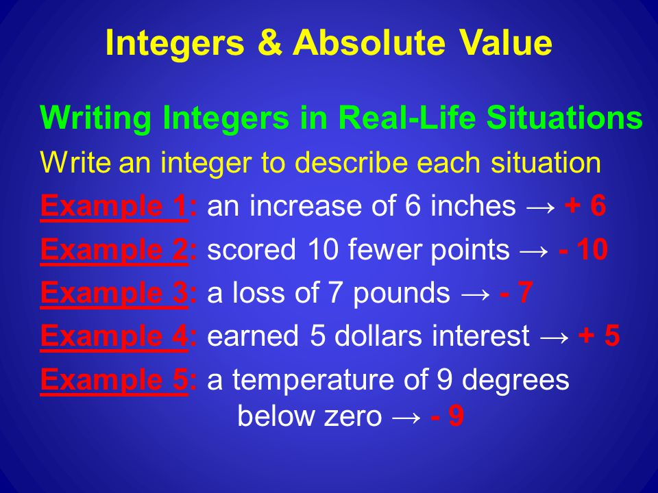 Integers & Absolute Value - ppt download