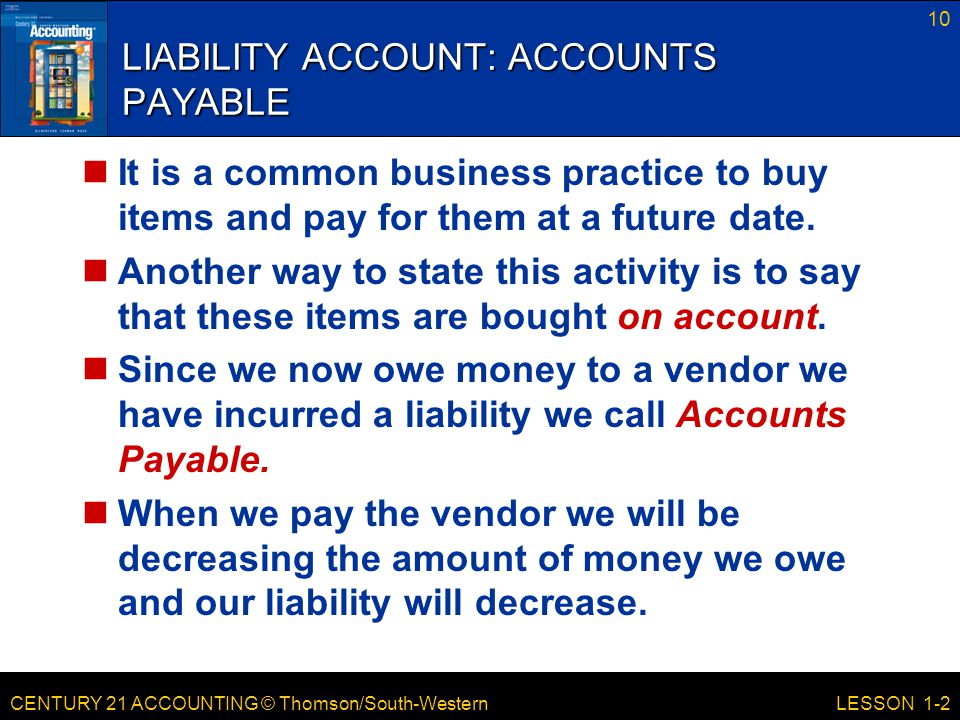 LIABILITY ACCOUNT: ACCOUNTS PAYABLE