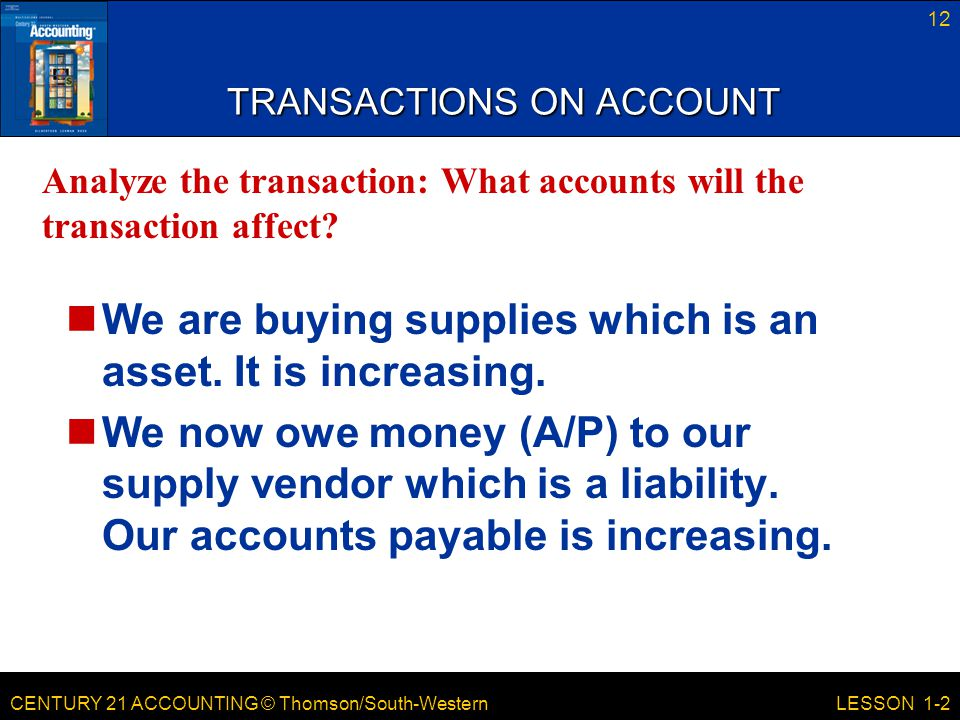 TRANSACTIONS ON ACCOUNT