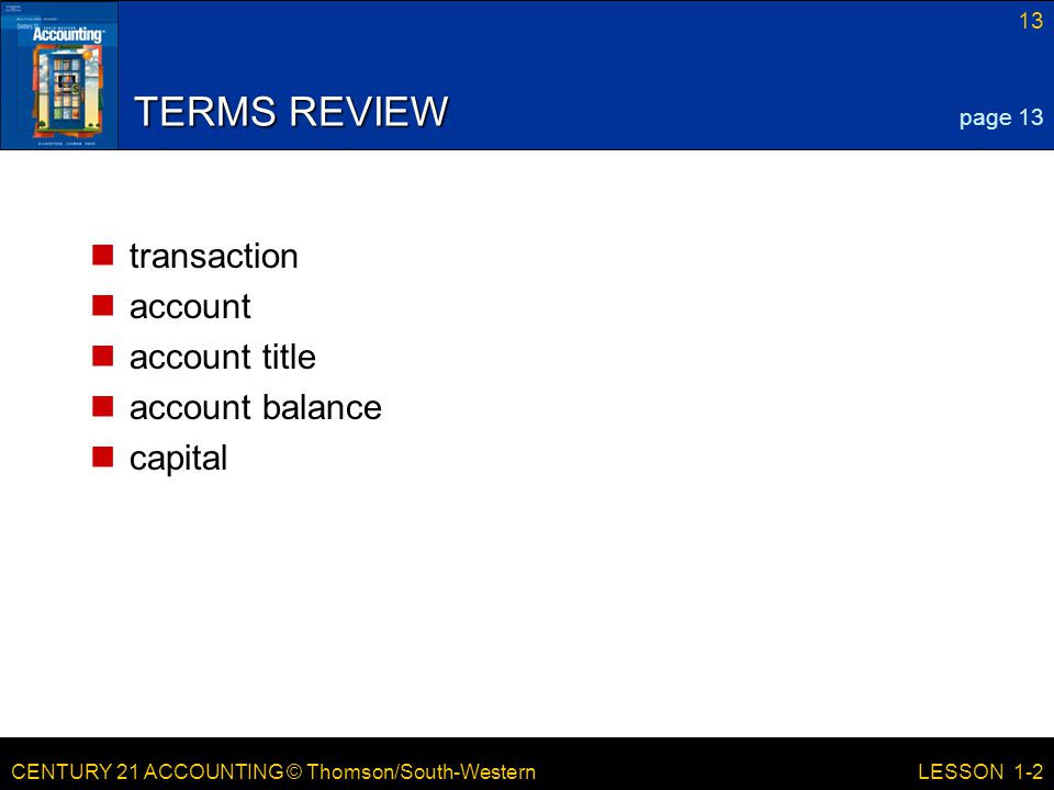 TERMS REVIEW transaction account account title account balance capital