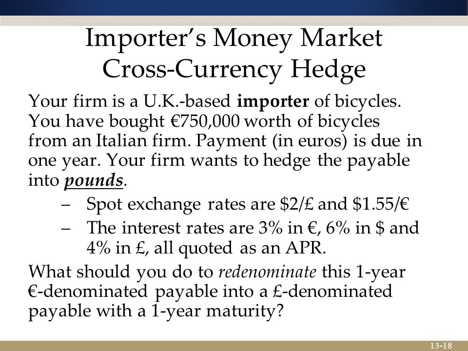 Importer's Money Market Cross-Currency Hedge