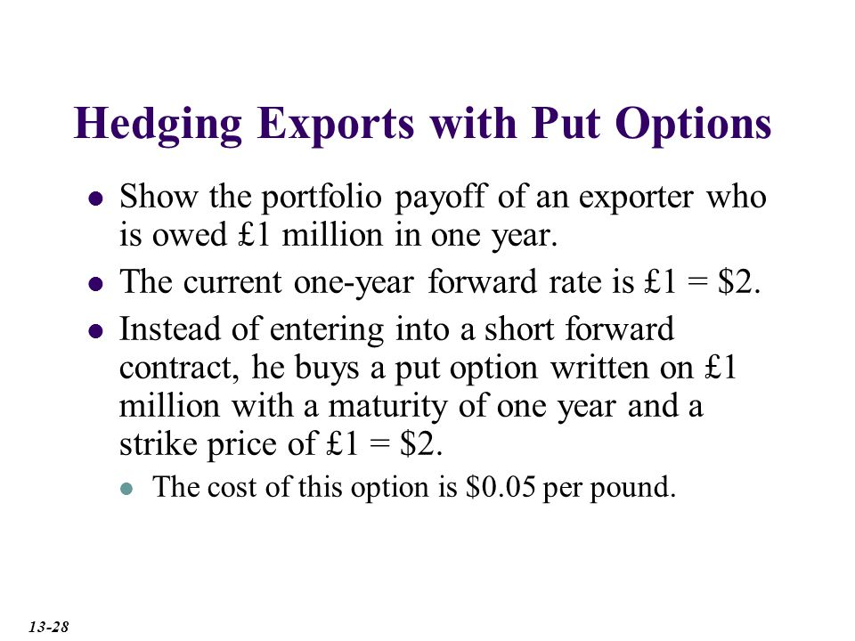 Hedging Exports with Put Options