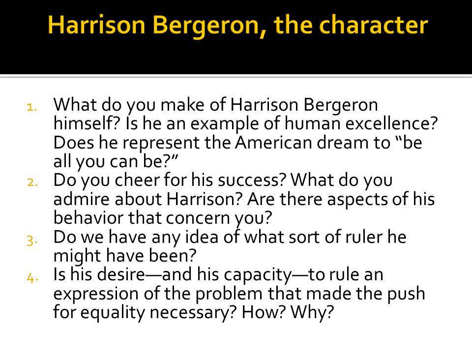 the importance of individuality in kurt vonneguts harrison bergeron Explore log in create new account upload .