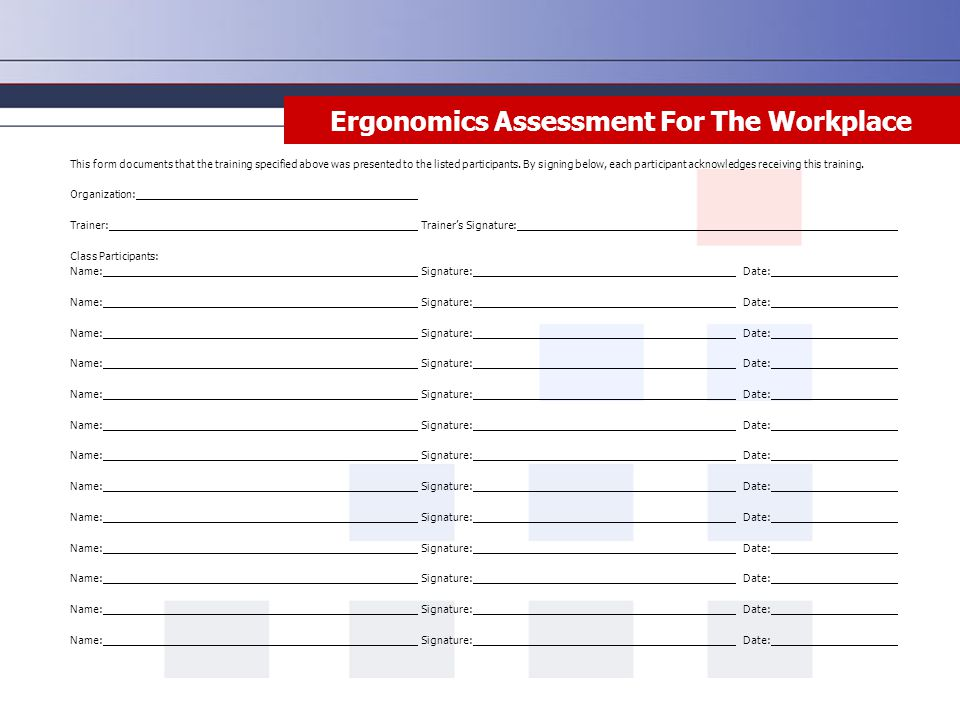 ergonomic assessment template - ergonomics assessment for the workplace ppt download