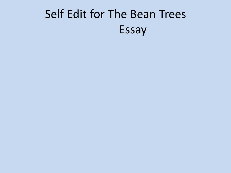 self edit for the bean trees essay ppt  1 self edit for the bean trees essay