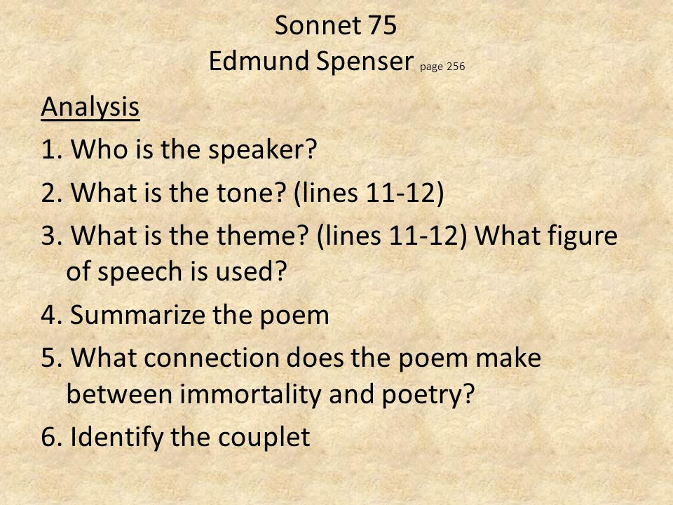 an analysis of sonnet 1 35 75 Summary shakespeare begins his sonnets by introducing four of his most  important themes — immortality, time, procreation, and selfishness — which ar.