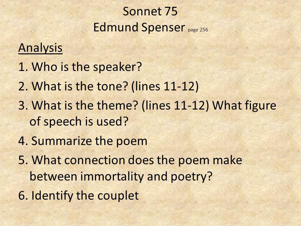 sonnet 75 by edmund spenser Edmund spenser (londen ca  inhoud [verbergen] 1 biografie 2 een fragment  uit the faerie queene 3 sonnet 75 uit amoretti 4 werken 5 externe links.