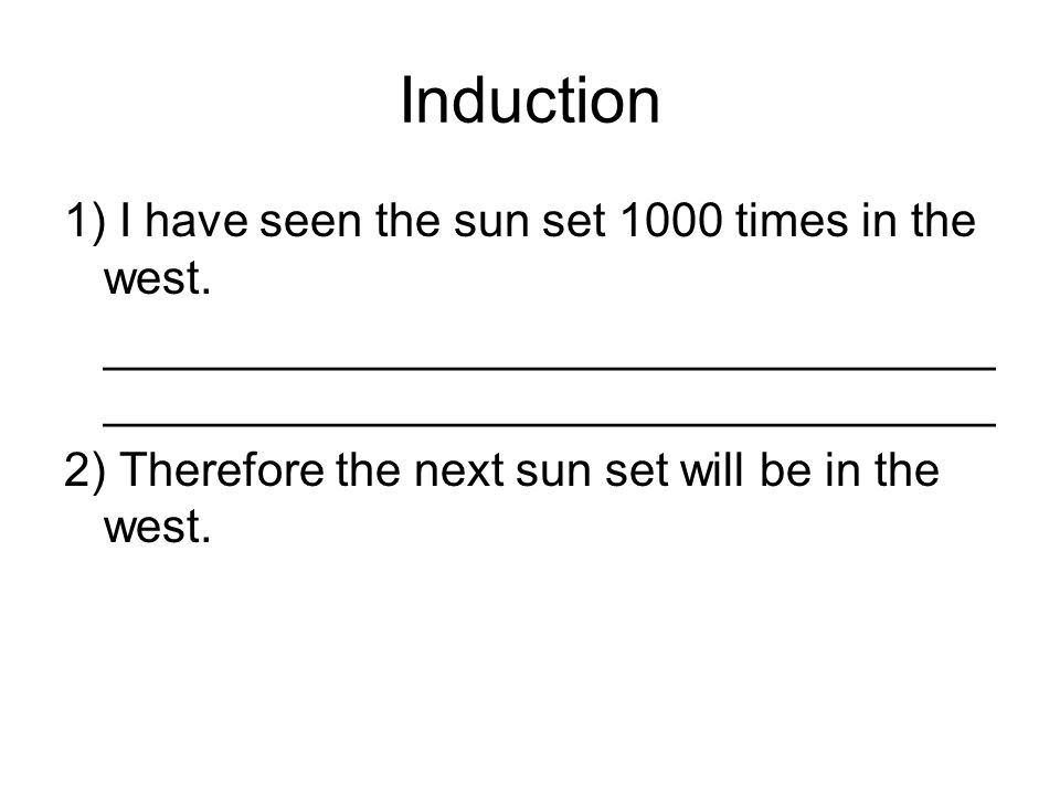 Induction 1) I have seen the sun set 1000 times in the west.