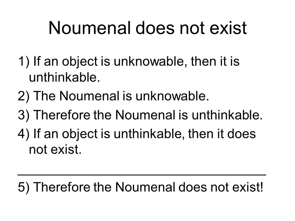 Noumenal does not exist