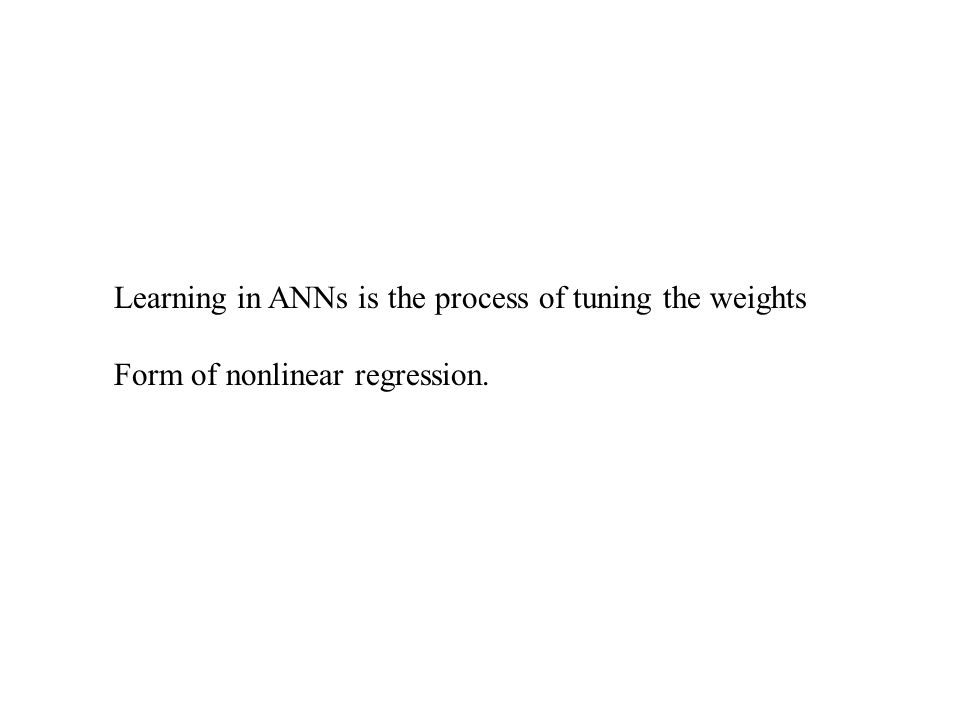 Learning in ANNs is the process of tuning the weights