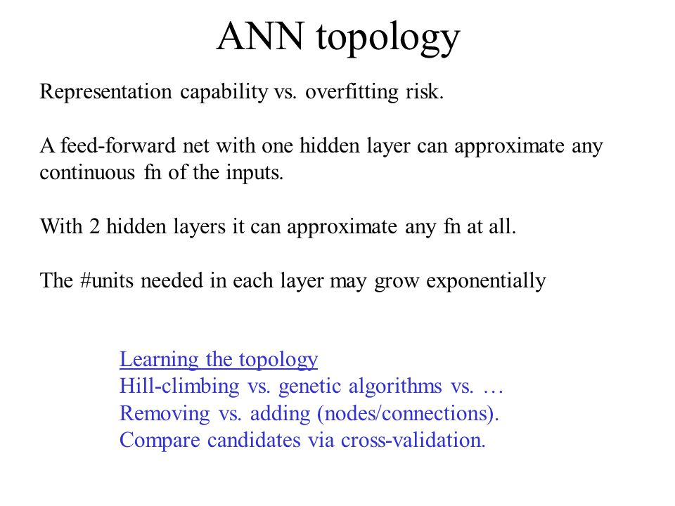 ANN topology Representation capability vs. overfitting risk.