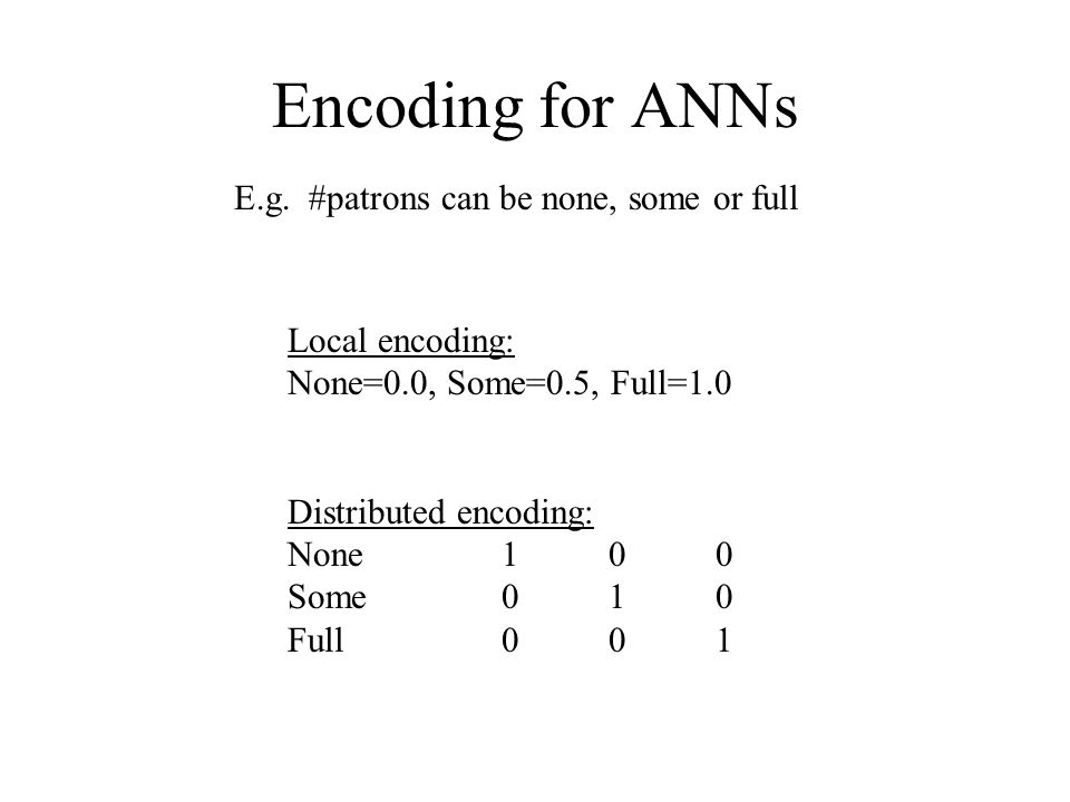 Encoding for ANNs E.g. #patrons can be none, some or full