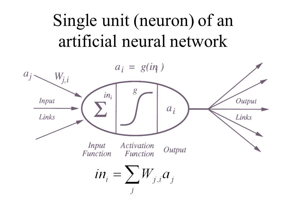 Single unit (neuron) of an artificial neural network