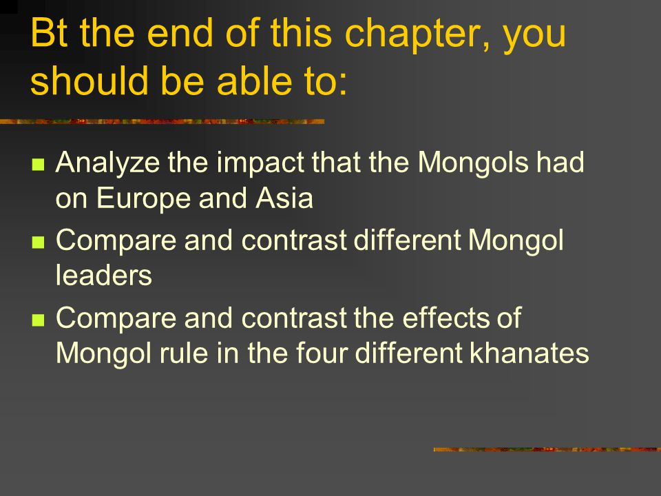 mongol compare and contrast Check out our top free essays on mongol empire comparison to help you write your own essay.