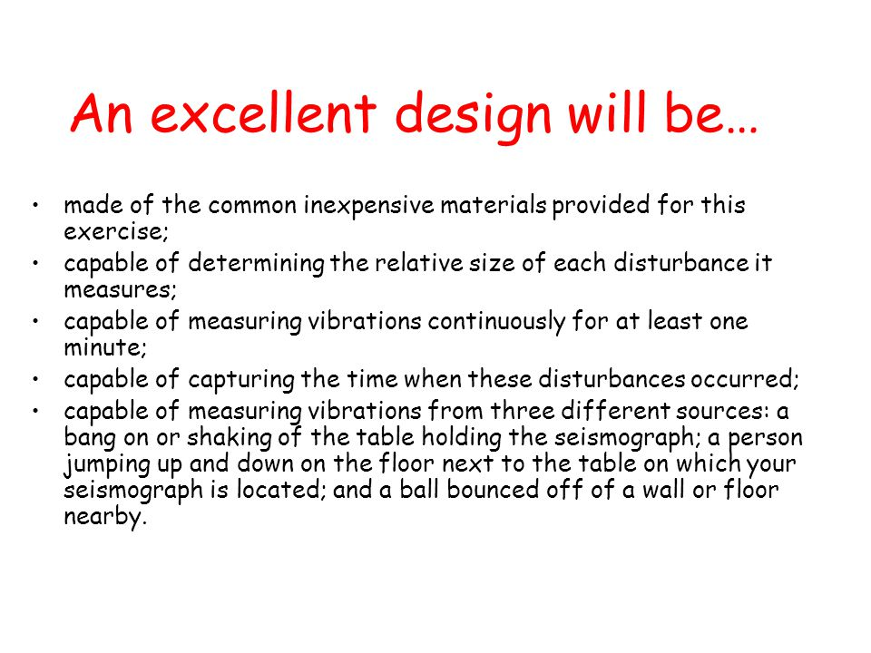 An excellent design will be…