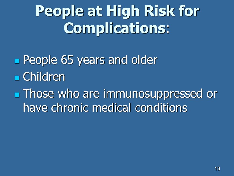 People at High Risk for Complications: