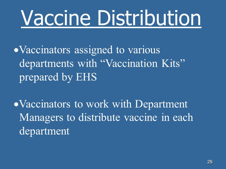 Vaccine Distribution Vaccinators assigned to various