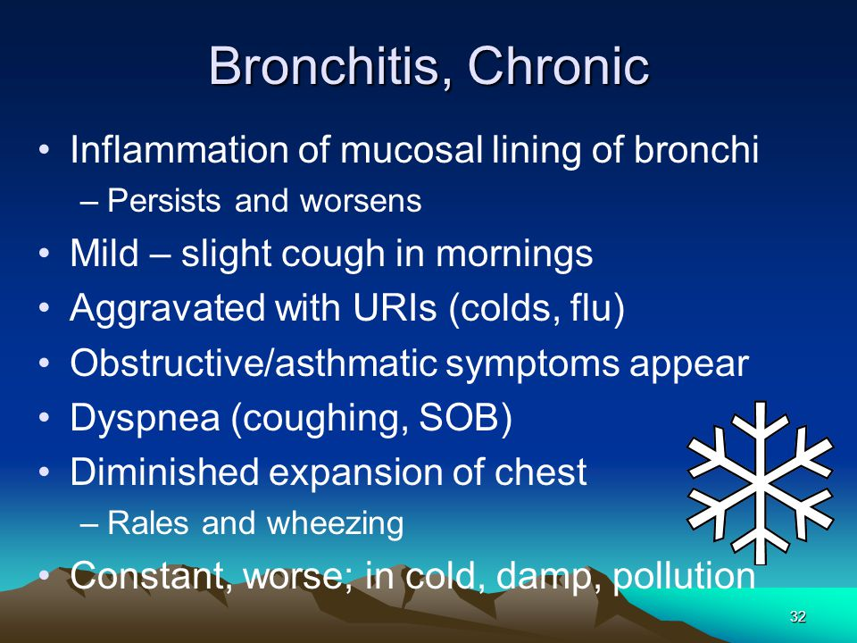 a description of bronchitis the inflammation of the bronchi Bronchiectasis is a term that describes damage to the walls of the bronchial tubes, of the lung inflammation due to infection or other causes destroys the smooth muscles that allow the bronchial tubes to be elastic and prevents secretions that are normally made by lung tissue to be cleared.