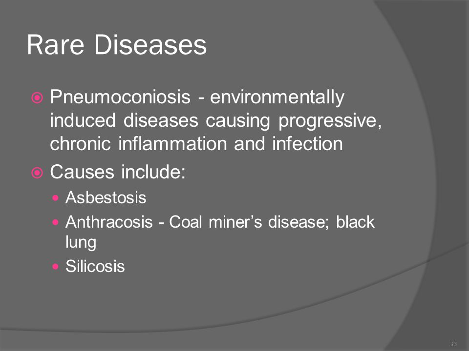 Rare Diseases Pneumoconiosis - environmentally induced diseases causing progressive, chronic inflammation and infection.