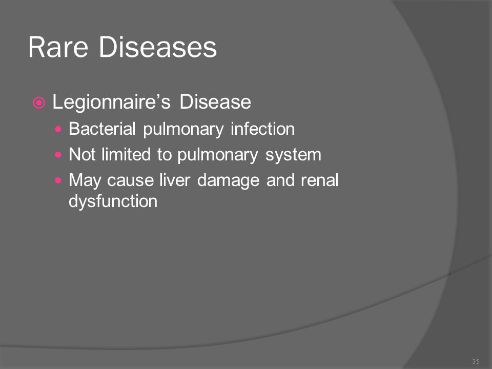 Rare Diseases Legionnaire's Disease Bacterial pulmonary infection