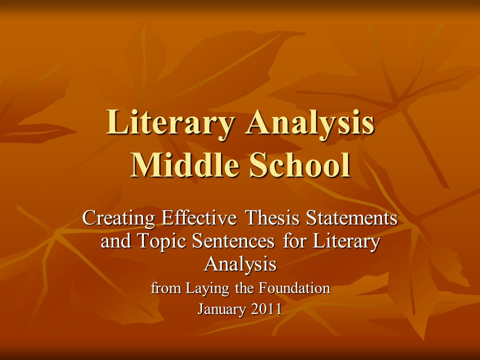 good thesis statements for literary analysis
