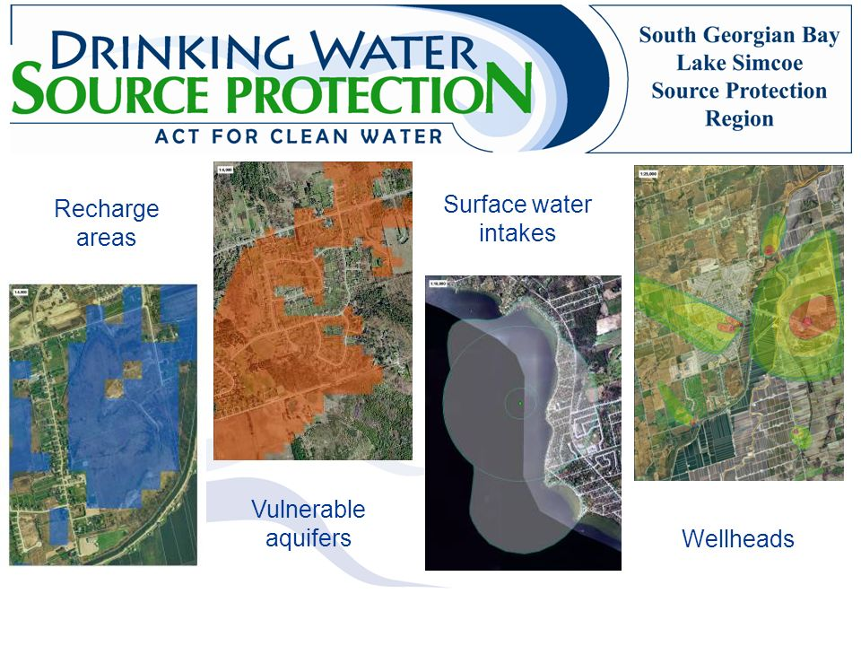Surface water intakes Recharge areas Vulnerable aquifers Wellheads