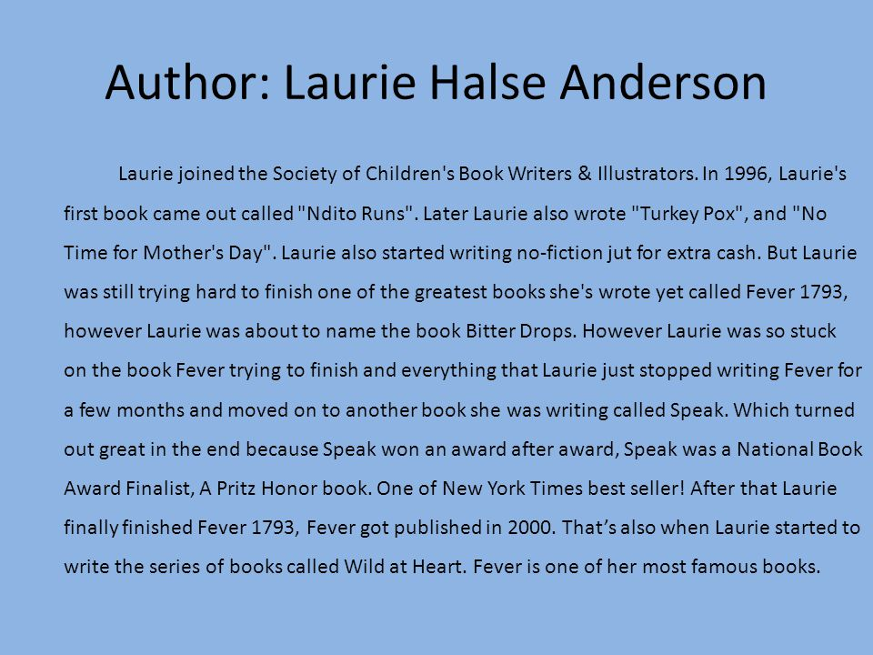 fever written by laurie halse anderson ppt video online  author laurie halse anderson