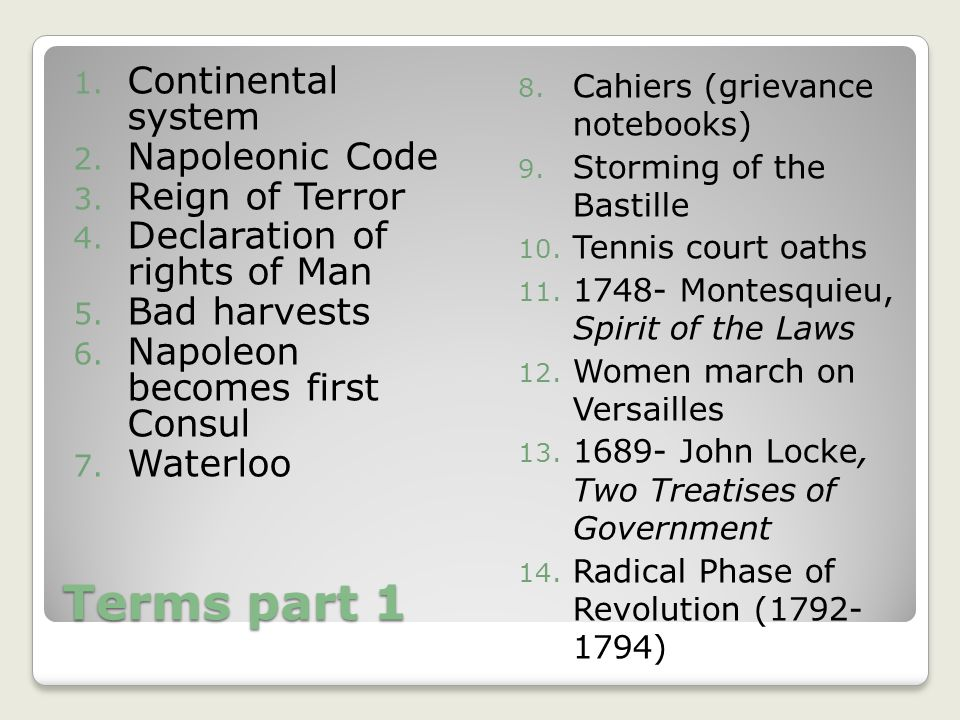 Terms part 1 Continental system Napoleonic Code Reign of Terror