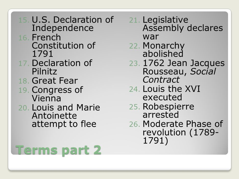 Terms part 2 U.S. Declaration of Independence