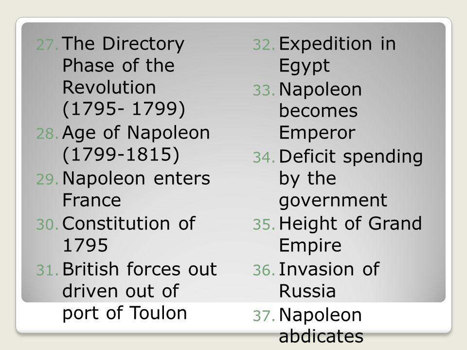 The Directory Phase of the Revolution ( )