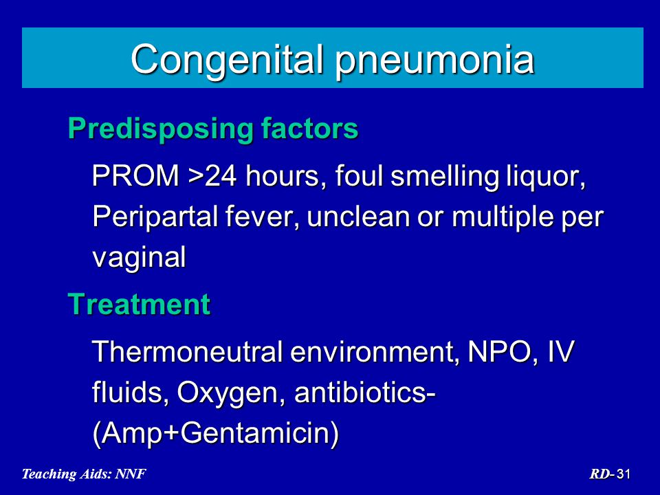 Congenital pneumonia Predisposing factors