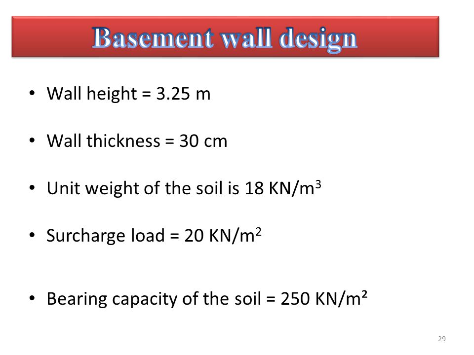 Basement Wall Design Wall Height U003d 3.25 M Wall Thickness U003d 30 Cm