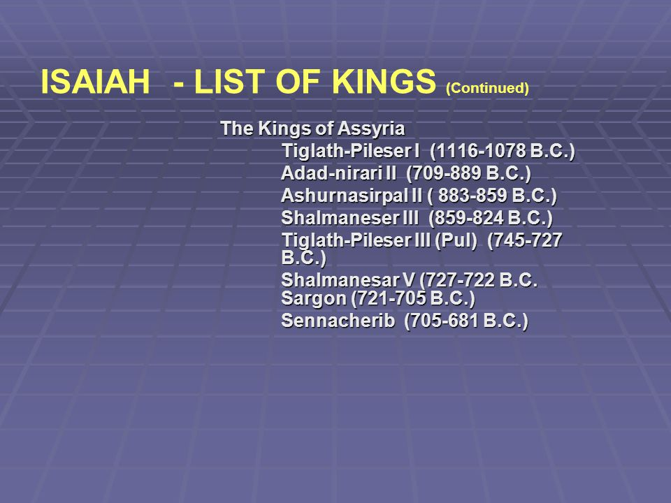 ISAIAH - LIST OF KINGS (Continued)