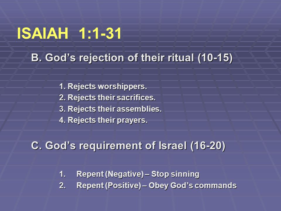 ISAIAH 1:1-31 B. God's rejection of their ritual (10-15)