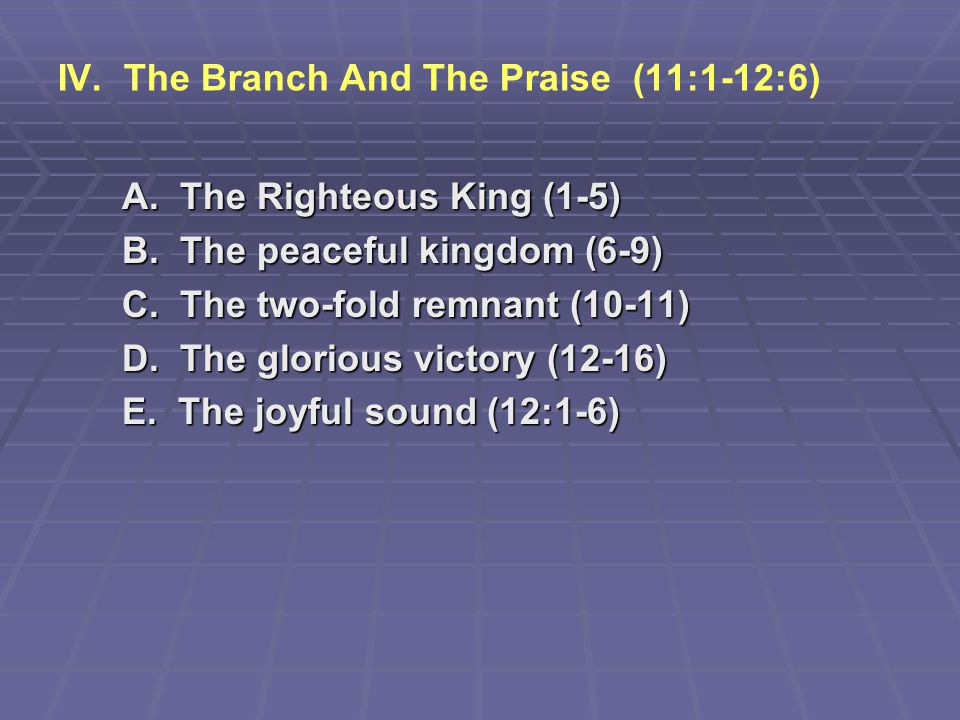 IV. The Branch And The Praise (11:1-12:6)