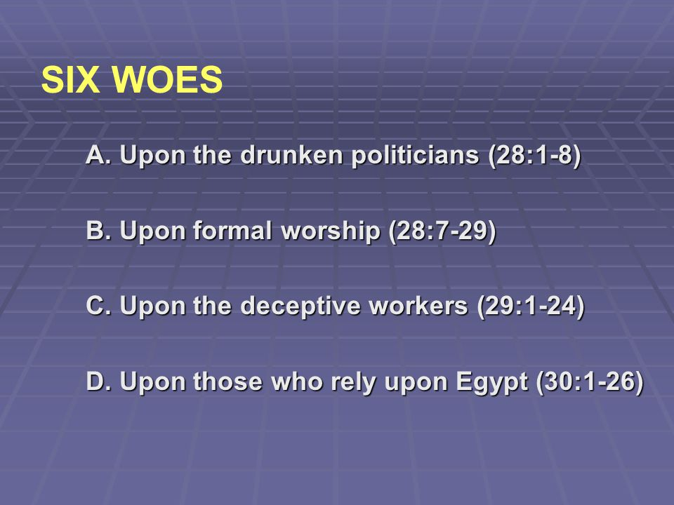 SIX WOES A. Upon the drunken politicians (28:1-8)