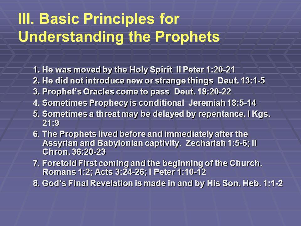 III. Basic Principles for Understanding the Prophets