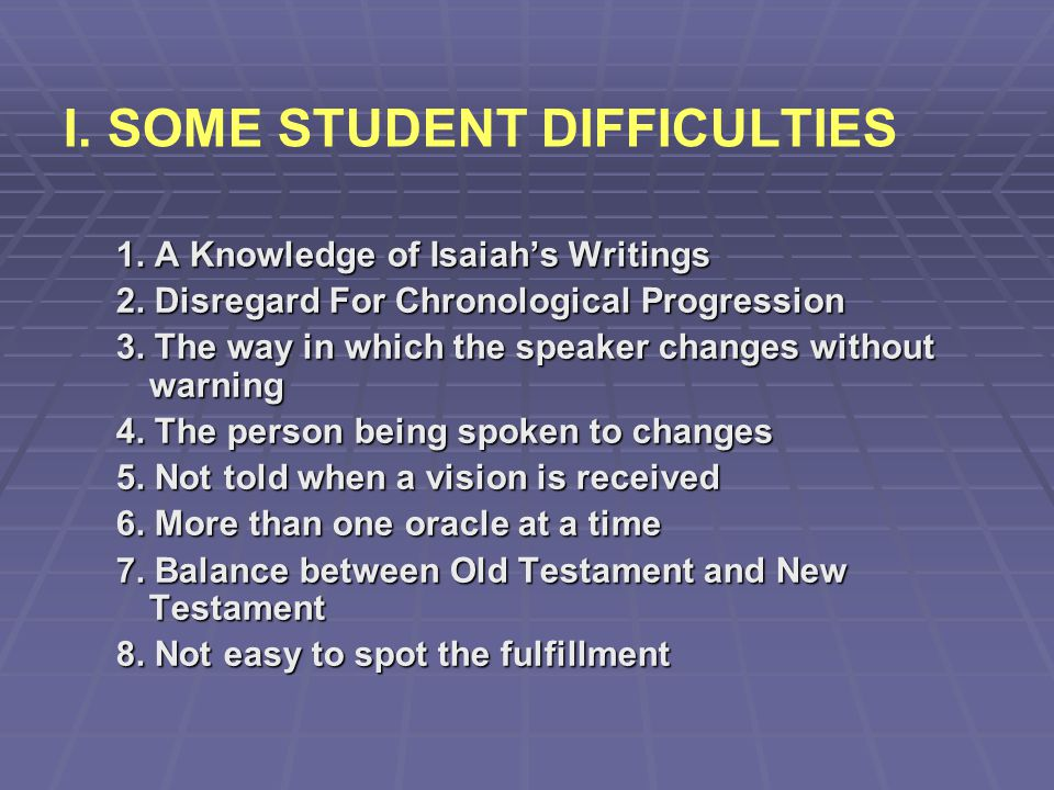 I. SOME STUDENT DIFFICULTIES