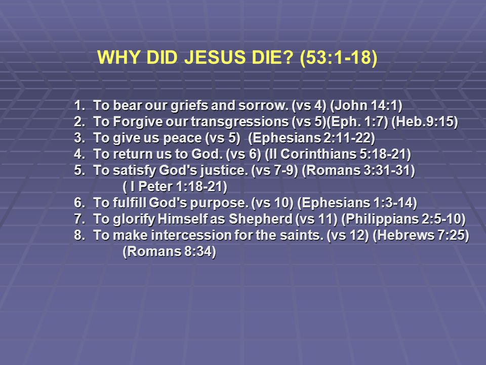 WHY DID JESUS DIE (53:1-18) 1. To bear our griefs and sorrow. (vs 4) (John 14:1) 2. To Forgive our transgressions (vs 5)(Eph. 1:7) (Heb.9:15)