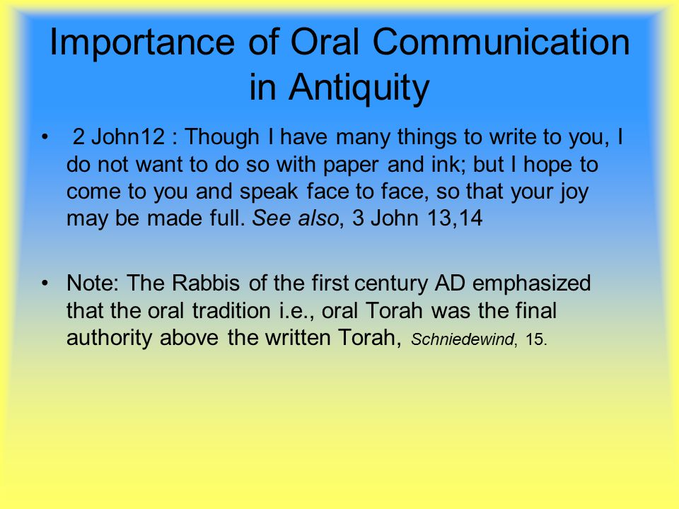 Oral and written communication essay