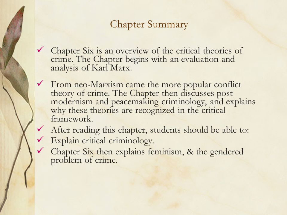 an introduction to the analysis of marxist theory of criminology Introduction feminist theories are a group of related theories that share several principles in common  marxist/socialist feminism,  meta-analysis in criminology.
