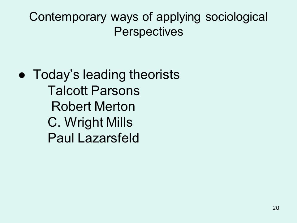Contemporary ways of applying sociological Perspectives