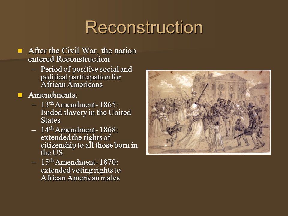 a history of the reconstruction period in the united states after civil war Political and economic conditions of the southern states in the aftermath of the civil war  the battle over reconstruction  history of the civil war.