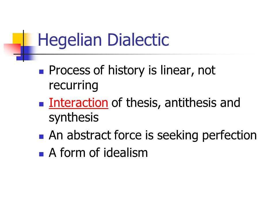 difference between thesis antithesis and synthesis Ok, so i know that marx's dialectics differed from hegel's in that hegel believed that change (thesis, antithesis, synthesis) comes from ideals, or ideas marx believed that change comes from material conditions, in the form of the means of production as well as the relations of production.
